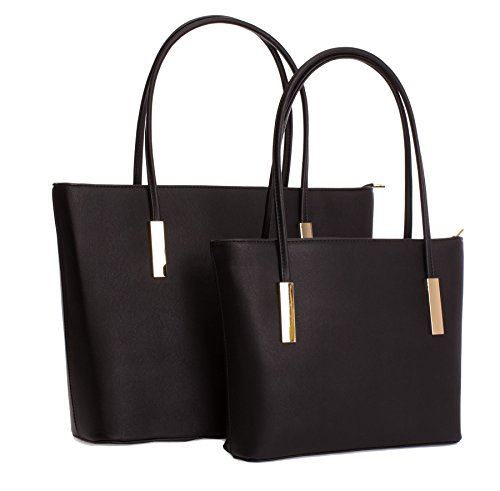 Golden Structured 1 in Shop Bag Shoulder Top Tote Top Opening Handbag Deco Handle Big Black 2 Zip PfpSxO