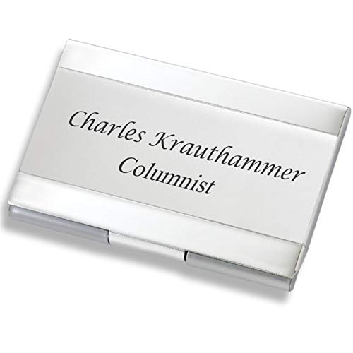 (Personalized Silver & Satin Business Card Case Holder Engraved Free)