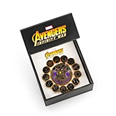 AVENGERS ASSEMBLE              Earth's mightiest heroes are all gathered to bring Thanos' tyranny towards its endgame! Each major hero is symbolized on these pins to commemorate the heroic epic that the Marvel Cinematic Univer...