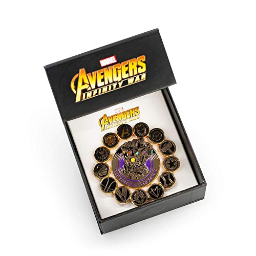 Avengers Marvel Infinity War Official Infinity Gauntlet Pin Set | Features Superhero Seals & Infinity Gauntlet | Set of 2 Yellow (Superhero Pin)