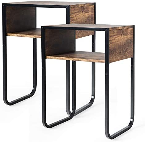 Giantex Side Table Industrial W/Drawer and Metal Frame