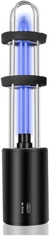 ALLOMN Rechargeable UV Sterilizer Light Home UV Light Bulb UV Germicidal Lamp In Addition Mite Lights Ozone Sterilization Lamp(Black)