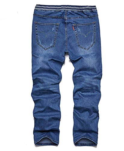 Hombres Cintura Casual Modernas Pantalones Haidean Grande De Azurblau Vaqueros Recta Talla Los Alta 4HcqI4w0B