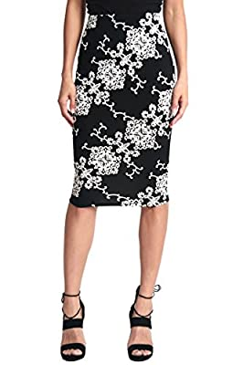 TheMogan Women's Floral Print Stretch Pencil Midi Knee Skirt for Office Occasion
