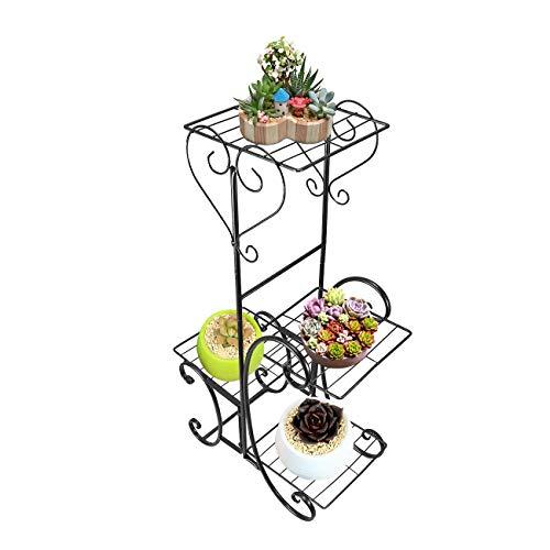 BEAMNOVA Plant Stand Flower Plant Holder Stand Black 4 Tiers Ladder Rack Shelf for Multiple Plants Potting Bonsai ()