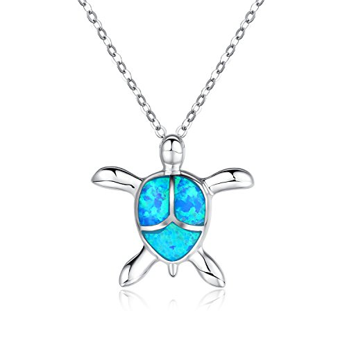 - Canmiya Women's Rhodium Plated Sterling Silver Synthetic Blue Opal Sea Turtle Pendant Necklace