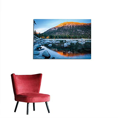 Sierra Carrier (kungfu Decoration Wallpaper Lake Tahoe,Rocks in a Lake Photo North American Landscape Sierra Nevada California USA,Multicolor The Office Poster W27.5 x L19.7)