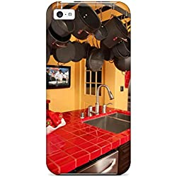 Fashion PxZIhmd26560PYiYO Case Cover For Iphone 5c(red-tiled Kitchen Counterhigh-rankings With Hanging Pot Rack)