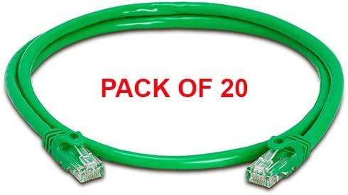 Gold Plated Male to Male 3 ft Green Cat6 Ethernet Cable Pack of 20