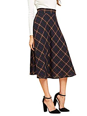 Verdusa Women's High Waist Flared Plaid A-line Skirt