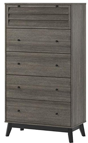 Ameriwood Home Vaughn 5 Drawer Dresser, Gray Oak - Ameriwood Home vaughn 5 Drawer Dresser extends your storage space in your Bedroom Crafted from a rustic Gray oak woodgrain laminate, this particleboard, MDF and solid wood Construction creates a beautiful mid-century look Spacious drawers hold all your t-shirts, Blue jeans, undergarments, or extra linens. The Top drawer has a louvered drawer front with a Back panel so your items are still concealed - dressers-bedroom-furniture, bedroom-furniture, bedroom - 416%2B54b0xTL -