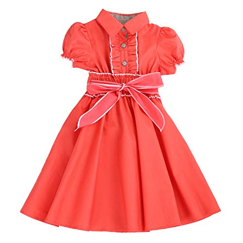 (MARIA ELENA - Toddlers and Girls Belted Puff-Sleeve Safari Dress in Coral Sunset 7/8)