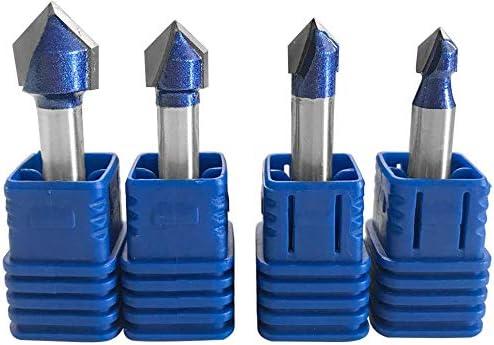 Bestgle 4 PCS 6.35mm Tige V Rainure en Carbure Monobloc Routeur CNC Gravure 90 Degr/és V-Rainurage Bit Outils de Travail du Bois