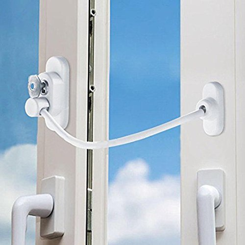 Window Door Restrictor Cable Security Lock Key Security Lock and Key, Baby Child Safety (Upvc Patio Doors Locks Sliding)