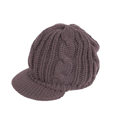 HDE Women's Winter Crochet Cable Braided Knit Slouchy Visor Beanie Warm Snow Hat (Brown)