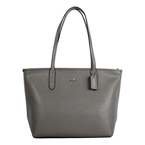 Coach Crossgrain Leather City Zip Tote Shoulder Bag, Heather - Bag City Tote