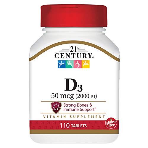 21st Century D3 2000 IU Tablets, 110 Count - 21st Vitamins Tablet Century