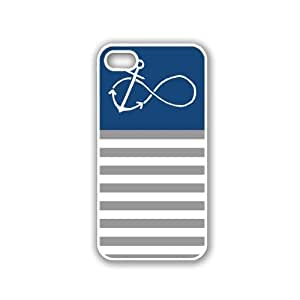 Anchored-Forever Dark Blue & Grey Stripes White iPhone 5 Case - For iPhone 5/5G - Designer PC Case Verizon AT&T Sprint