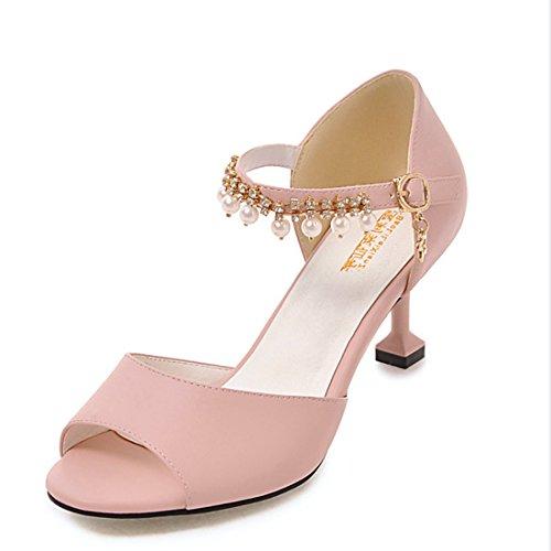 Peep Kitten Sexy Heel Pink Ladies Party Beaded Sandals VECJUNIA Shoes Toe 56YBw