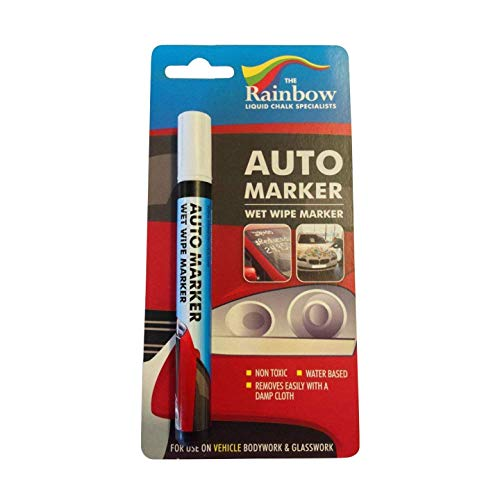 Car Paint Marker Pens Auto Writer - All Surfaces, Windows, Glass, Tire, Metal - Any Automobile, Truck or Bicycle, Water Based Wet Erase Removable Markers Pen - 5mm tip - White ()