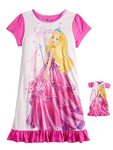Barbie Kids & Baby Big Girls' Nightgown w/Matching Doll, Sparkly Pink, 8 (Baby Doll Nightgown For Girls)