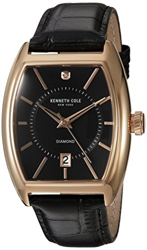 Kenneth Cole New York Men's 'Diamond' Quartz Stainless Steel and Leather Dress Watch, Color:Black (Model: 10030819)