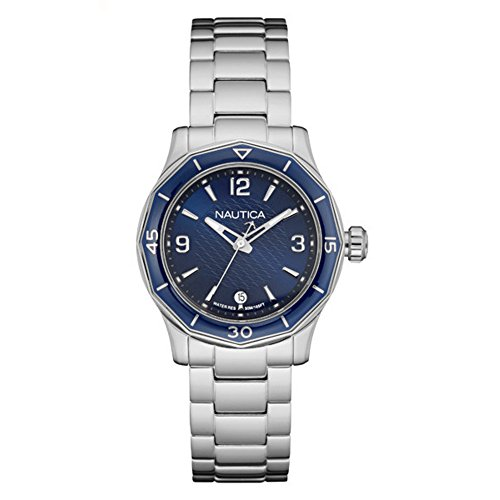Nautica Women's 'NWS 01' Quartz Stainless Steel Casual Watch, Color:White (Model: NAD16532L)