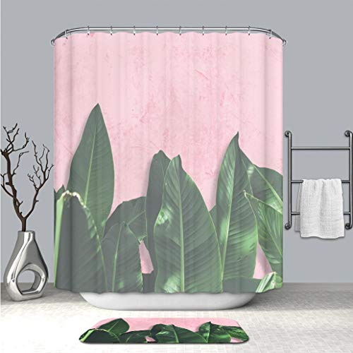 BEICICI Custom Colorful Life Shower Curtain and Bath mat Close up Green Banana Leaves Over Pink Painted Grunge Concrete Wall Waterproof Polyester Fabric Shower Curtain and Floor Mat Combination Set