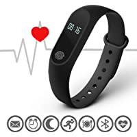 Rewy S2 Basic Waterproof Fitness Tracker Heart Rate Sensor and Many Impressive Features Smart Band (Black)