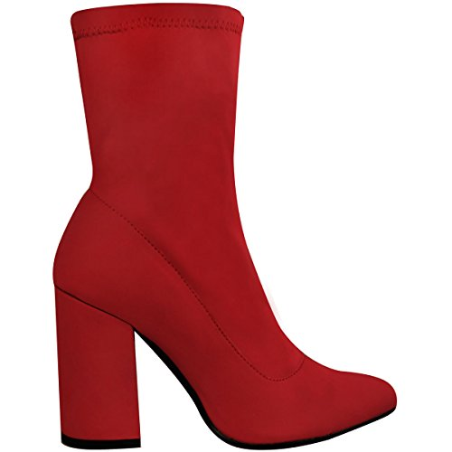 Fashion Thirsty Heelberry® Ladies Womens New Block High Heel Stretchy Lycra Wide Fit Ankle Boots Party Size Red Lycra 3ToC11kt