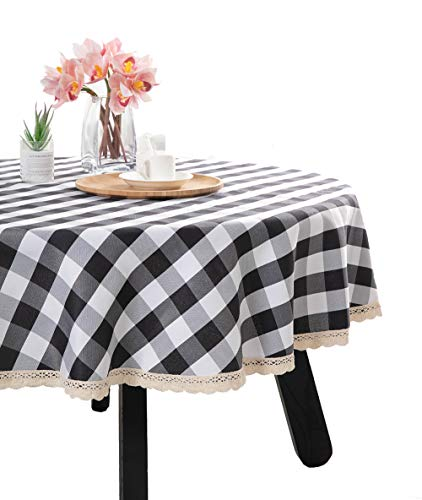 Nobildonna 55Inch Gingham Checkered Tablecloth, Black & White Checker, Round Lace Polyester Tablecloth]()