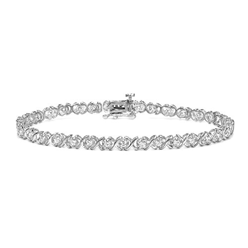 14k White Gold Round-cut Diamond Tennis Link Bracelet (1 cttw)