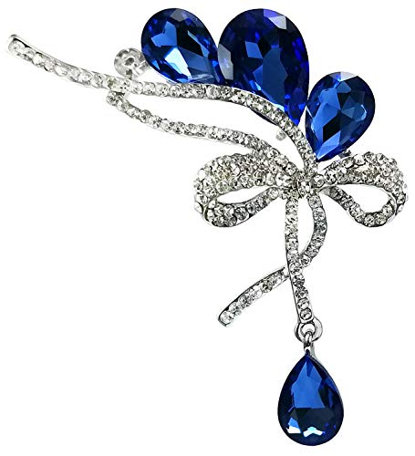 (Bijoux De Ja Rhodium-Plated Base Rhinestone Crystal Ribbon Bow Brooch Pin (Blue))