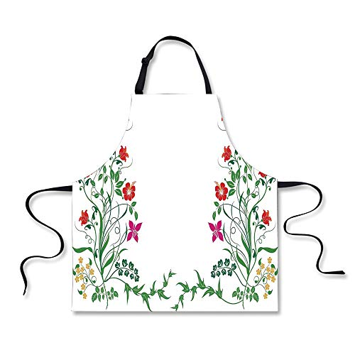 iPrint Cooking Apron,Flower Decor,Oriental Design with Flora