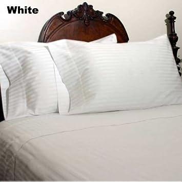 White Stripe All Sizes Complete Bedding Set Choose Sizes 1000 TC Egypt Cotton