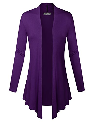 BIADANI Women Open Front Lightweight Cardigan Eggplant Large
