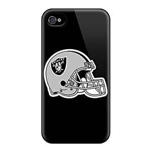 EQU62XrjR Leeler Awesome Case Cover Compatible With Apple Iphone 4/4S - Oakland Raiders