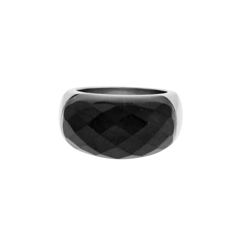 Size 7   Inox Jewelry Womens Black Howlite 316L Stainless Steel Ring