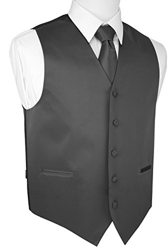 Brand Q Italian Design, Men's Tuxedo Vest, Tie & Hankie Set - Charcoal - 5XL by Brand Q