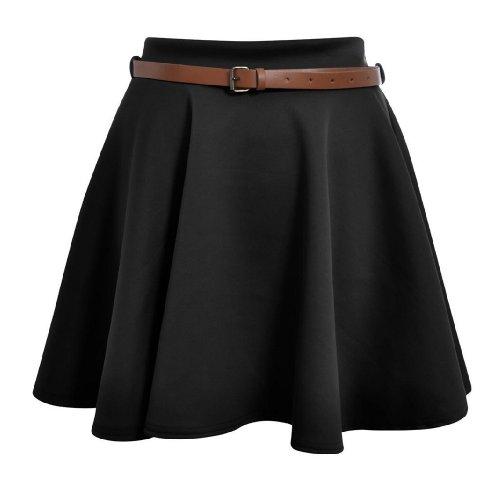 Mini Skirt Belted (Hot Hanger Womens Belted Mini Skater Skirt 8-14(8-10 (SM), Black))
