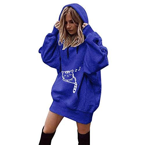 Hoodies for Womens, FORUU Christmas Thanksgiving Friday Monday Under 10 Women Fashion Cat Print Clothes Pullover Coat Hoody Sweatshirt