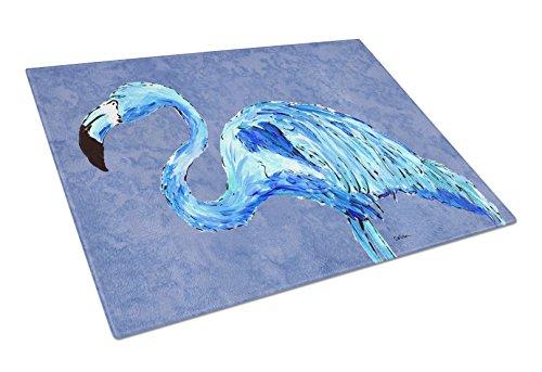 Caroline's Treasures Flamingo on Slate Blue Glass Cutting Board, Large, Multicolor