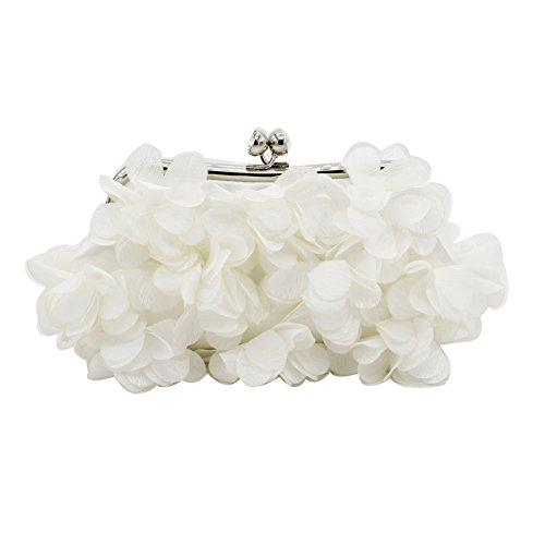 Brial Wedding Women Clutch more Satin Handbags Silk and Colors Kingluck Design Bag Flower evening White gqXw0xY