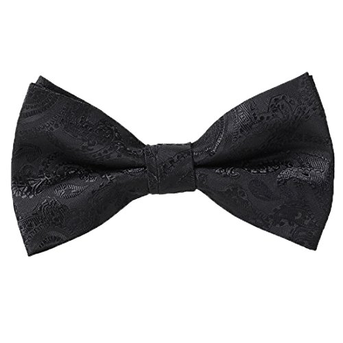 QYdress Men Bow Tie Adjustable Length wedding Male Fashion Boys Girls kids Women Satin one size Black 1