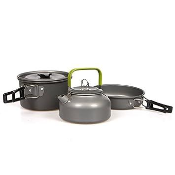 2-3 Portable People camping al aire libre de cocina Set Ollas y sartenes de cocina Tetera Cafetera Hervidor: Amazon.es: Deportes y aire libre
