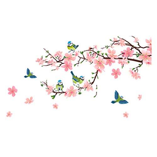 Flowers Butterflies Trees Romantic Wall Stickers Cartoon Animals Wall Decals Home Decor Art Mural Baby Boys Girls Kids Bedroom Kitchen Nursery Room Decoration (Peach Flower Blue Bird) (Decals Wall Bird Blue)