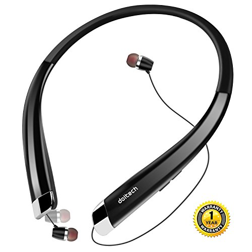 Bluetooth Headphones, DolTech HWS-990 Stereo Bluetooth Headset Neckband Retractable Sport Earbuds with Mic, Sweatproof Bluetooth 4.1(Black)