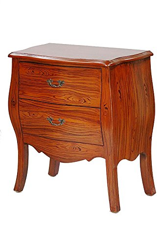 Heather Ann Creations Bombay Series Premium Wood 2 Drawer Bombay Shaped Storage Cabinet, Woograin (2 Drawer Bombe Chest)