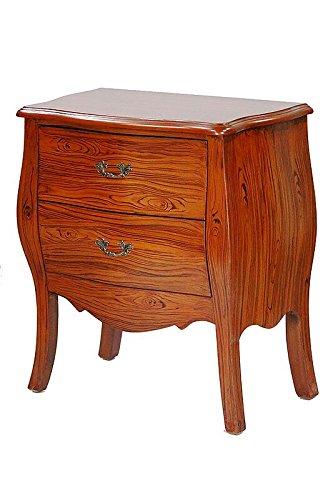 Heather Ann Creations Bombay Series Premium Wood 2 Drawer Bombay Shaped Storage Cabinet, Woograin