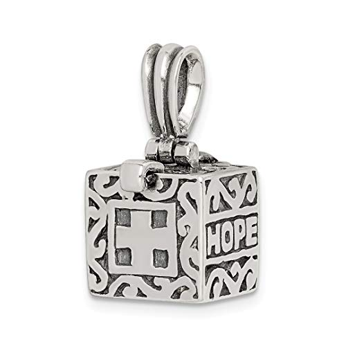 - 925 Sterling Silver Faith Hope Prayer Box Pendant Charm Necklace Religious Book Fine Jewelry Gifts For Women For Her